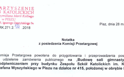 Notatka z posiedzenia komisji przetargowej